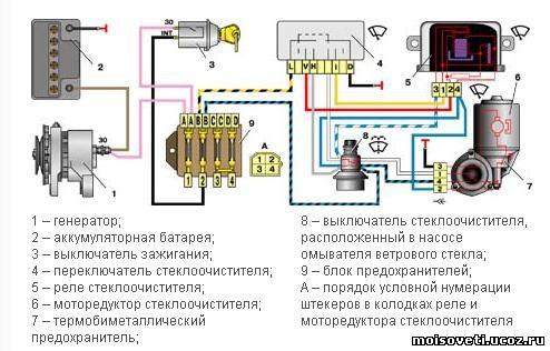 Схема стеклоочистителя Ваз