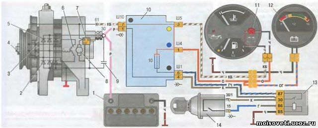 схема генератора 2105