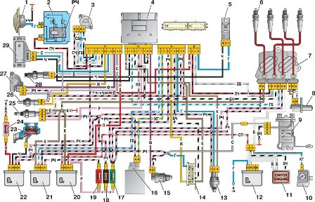 Ваз 2107 Электросхема .